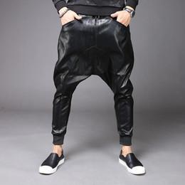 2019 cuoio harem New Fashion Mens Punk Moto Pu Ecopelle Casual Harem Cavallo basso Pantaloni Jeans Street Dance Dj Rock Slacks Pantaloni M-2xl Y190509 sconti cuoio harem