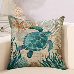 Personalizzabile stampa su un solo lato Marine Sea Turtle Seahorse Whale Octopus Home Cushion Covers 45x45cm Lino Divano Federa DH0569 T03 cheap octopus cases da casi di polpo fornitori