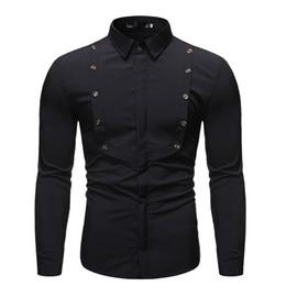 Camisas de doble botonadura online-Nuevo Código Europeo camisa del color sólido de la solapa Base hombres doble botonadura decorativo caliente de manga larga camisa de los hombres del tamaño S-2XL