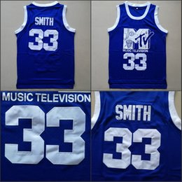 basket-ball de musique Promotion Mens Will Smith # 33 Maillot de basket-ball Musique Télévision Première annuelle de Rock N'Jock B-Ball Jam 1991 Bleu Chemises cousues