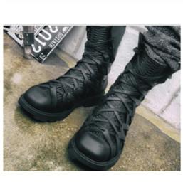 2019 botas meias de meia calça zip Venda quente-Mens Mid Calf Boots Lace Up Combate Casual Moda Casual Sapatos De Couro Preto G21 desconto botas meias de meia calça zip