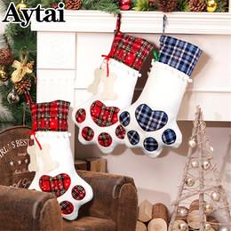 Gato decoración online-Aytai Christmas 2018 Stocking para mascotas Perro Gato Grandes Medias Chirstmas Hueso Bolsa de regalo Decoraciones navideñas para el hogar
