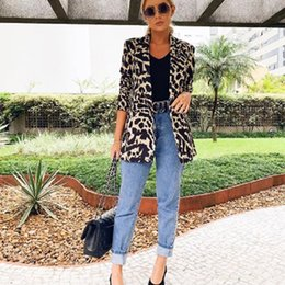 blazers patterns Promo Codes - Women Work Long Blazer Suit Ladies Long Sleeve Zebra Pattern Leopard Print Slim Blazers Casual Coat Outwear Women Cardigans