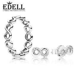 d806c8536168 2019 pendientes infinitos EDELL100% 925 Sterling Silver RAU0039 Infinite  Love Juego de anillo y aretes