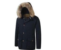 homens, s, ártico, parka Desconto 2020 New Men Mens s Arctic de Down Parka Com Big Removeable Raccoon Fur casaco quente Casaco de Inverno