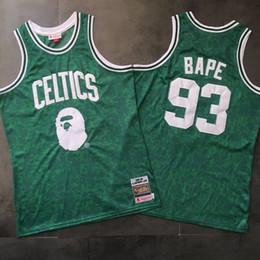 2020 camisa de bape Homens BAPExMITCHELL NESS BostonCeltics 93Bape Verde duas vezes bordado Jersey desconto camisa de bape