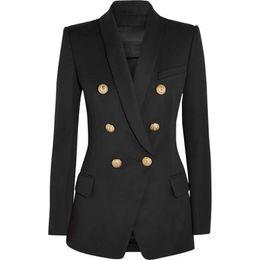 casaco de trabalho bege Desconto Alta-breasted das mulheres de alta qualidade jaqueta fina fivelas de metal feminino blazer retro senhoras xale gola casaco outwear