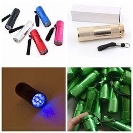 2020 lanterna doméstica Liga de alumínio portátil UV Flashlight Luz Violeta 9 LED 30lm Tocha Lâmpada Luz Mini Lanterna 7 Cores 100pcs Diversos Eletrodomésticos ZZA1458-7 lanterna doméstica barato