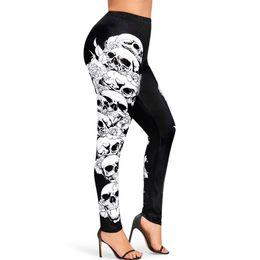 più stampa cranio leggings leggings Sconti Wipalo Women Sexy Plus Size Skull Leggings stampati Donna Gothic Halloween Leggings Fitness Feminina Leggins Mujer 5XL