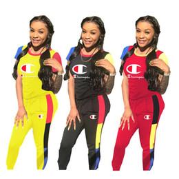Mujeres Campeones Camiseta Top + Pantalones Chándal Verano Patchwor Mangas cortas Conjunto 2 piezas Joggers Set Ropa deportiva Club Street usa nuevo A42903 desde fabricantes
