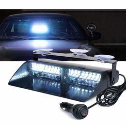 luces blancas del tablero Rebajas Blanco 16 LED LED de alta intensidad LED Aplicación de la ley Advertencia de peligro de emergencia Luces estroboscópicas para techo interior / tablero / parabrisas con