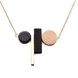 Eslabones de la cadena de madera online-1 Unids Nueva Moda Collar Geométrico Colgante de Madera Cadena de Eslabones de Oro Collar Largo Joyería de Las Mujeres Joyería de la Personalidad Bonito Regalo