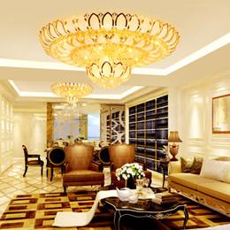 Lampada da soffitto in cristallo dorato chiaro online-Plafoniere a soffitto moderne di cristallo a LED Apparecchio Plafoniere americane rotonde Golden Lotus Flower Illuminazione a soffitto Illuminazione interna domestica