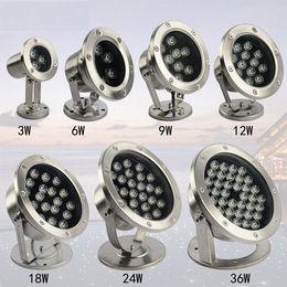 Rgb led spot light 9w online-1 unids RGB rojo blanco 6W 9W 12W 24W 36W LED luz de inundación luz de punto de la piscina luz LED subacuática LED