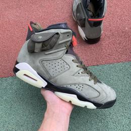Resplandor oscuro zapatos de baloncesto tamaño online-Nueva Travis Scott x 6 Zapatos Cactus Jack 6s Hombres Deportes Baloncesto Medio oliva brillan en el tamaño Entrenadores verde oscuro ejército zapatillas 7-13