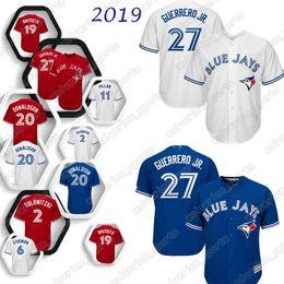 Бейсбол торонто онлайн-Трикотажные изделия бейсбола Блю Джейс 27 Владимир Guerrero младший Торонто 6 Маркус Stroman 2 Troy 19 Баутиста 12 Alomar Джерси 2019 новый