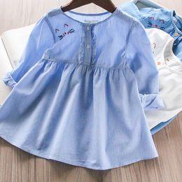 Los niños lindos gato bordado princesa camisa de vestir niñas raya princesa  tops 2019 primavera niños cuello redondo manga larga vestido de mezclilla  F4028 8bb69badaf98c