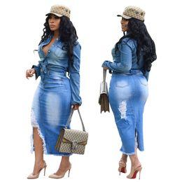 повседневные высокие низкие юбки Скидка Женская Мода Рваные Джинсы Повседневная Bodycon Клубная Одежда Кисточкой Щелевая Джинсовая Юбка