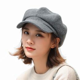 Sparsil mujeres de lana de la boina Corea del color sólido Jazz octogonal casquillos del vendedor de periódicos estilo Vintage pintor casquillo de los sombreros unisex de la manera británica desde fabricantes