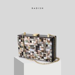 Scatole quadrate acriliche online-Borsa di lusso di design RAVANELLO, borsa acrilica a forma di reticolo, borsa a tracolla quadrata e portafoglio