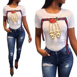 Camisas de diamantes de imitación online-¡¡¡Venta al por mayor!!! Mujeres zapatos de perlas ocasionales Rose Rhinestone bordado Top manga corta camiseta