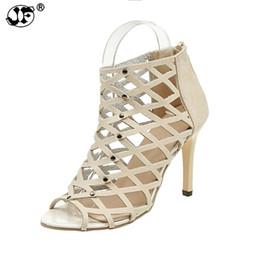 b697a999392 Designer Dress Shoes 2019 Summer Sexy woman Peep Toe High-heeled sandals  Mesh style Rivet Gladiator sandals Zip women 881