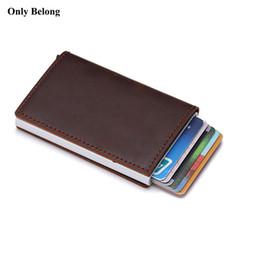 2019 tarjeta de crédito billetera de aluminio Cartera de aluminio de cuero genuino ID Bloqueo de billetera Bandeja de crédito emergente automática Tarjeta de visita Protector de caja tarjeta de crédito billetera de aluminio baratos