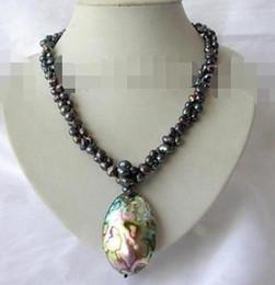 """Collar de abulón negro online-Clásico 20 """"2 hebras 8mm collar de perlas barrocas negro Abalone Shell colgante H934"""