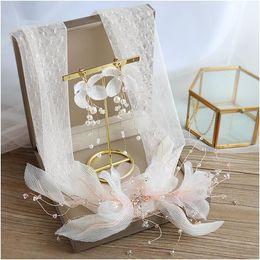 elegantes faixas feitas à mão Desconto Noiva headband Coréia rosa do casamento do laço elegante princesa headbands brincos feitos à mão flor de seda flor cabelo jóias jóias