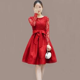 Estilo imperio vestidos largos online-Estilo de muy buen gusto Vestidos Moda Mujer de encaje de manga larga del o-cuello A-line Vestidos Vintage Empire Spring Ladies Bow Vestidos Re0401