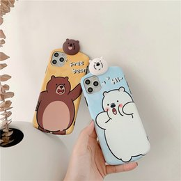 Orso marrone di iphone online-Case Cover telefono carino IMD cellulare Orso bruno Orso nero fumetto per iPhone 11 pro max 7 8 Plus X xr xs