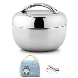 Contenitori per il pranzo in acciaio online-Vuoto Contenitore per alimenti in acciaio inossidabile spesso Thermos Contenitore per picnic portatile Bento Lunch Box Office Lunchbox Set di stoviglie per adulti Y19070303