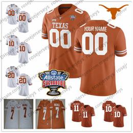 texas longhorns jerseys Rebajas Custom Texas Longhorns College Football Brunt Orange White Cualquier nombre Número Watson McCoy 10 Young 11 Ehlinger Humphrey 2018 Sugar Bowl Jersey