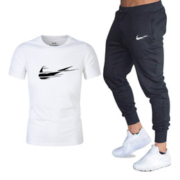 purple pink suit Coupons - Men Fashion Two Pieces Sets T Shirts+pants Suit Men Summer Tops Tees Fashion Brand Print Tshirt High Quality Sportswears 2 Sets