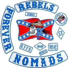 REBELS NOMADS büyük punk işlemeli demir on destek için biker yama rozeti ceket kot 11 parça / TAKıM nereden toptan çocuk hırka tedarikçiler