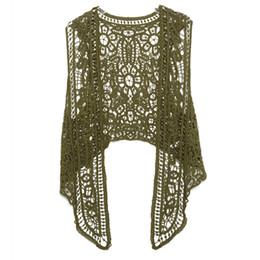 Jastie Asymétrique Point ouvert Cardigan Été Plage Boho Hippie Personnes Style Crochet Tricot Broderie Blouse Gilet Sans Manches C19041201 ? partir de fabricateur