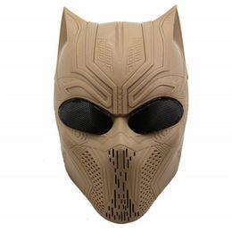 Máscara protectora completa de paintball online-Cosplay de Halloween del cráneo 9 colores Negro pantera fantasma máscara táctica de Airsoft Paintball de la cara llena protectora SH190922 Máscara