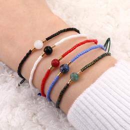 contas de papel Desconto Moda artesanal natural pulseiras de pedra com a amizade cartões de papel corda arroz Beads tecido pulseira Tornozeleiras Presentes banda de anel Mulheres Homens Mão