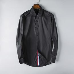5008ceb01fe Платье рубашка дизайнер мужской роскошный бизнес рубашка с длинным рукавом  бренд блузка высокое качество мужские топы S-3XL черный белый цвет черные  ...