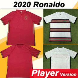 shorts portugal Promotion 2020 Version RONALDO Joueur de Football Maillots PORTUGAL SILVA J.MOUTINHO Accueil Rouge à l'extérieur des hommes de football Chemise ANDRE GOMES Uniformes à manches courtes