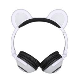 Osos auriculares online-Bear Ear Kids Headphones Auriculares plegables sobre la cabeza Cosplay Auriculares Gaming Glowing Flashing Recargable para Tablet PC Smart Phones Pink
