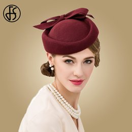 33de880169cbb FS British Style Wine Red Pillbox Hat For Women Vintage 100% Wool Fedora  Wedding Fascinators Party Ladies Hats