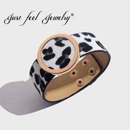 Feutre imprimé léopard en Ligne-JUSTE FEEL Boho Imprimé Léopard Bracelet Bracelets Pour Femmes Réglable Déclaration De Mode Bracelet De Noël De Noce Bijoux
