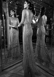 2019 Nouveau Zuhair Murad Illusion Décolleté Sirène Mariage Robe Robe De Soirée Étincelante Gemelle Formelle Robe De Soirée Ouvert À L'arrière Robes De Bal ? partir de fabricateur