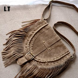 brown suede fringe bag Coupons - Wholesale-2016 Women Fringed Messenger Bag Brown Faux Suede Fringe Tassel Beaded Boho Hippie Gypsy Bohemian Cross body Bag