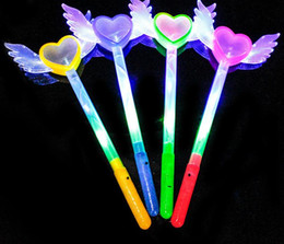 fairies stick Promo Codes - Led Magic Wands Flash Fairy Angel Heart Wings Wand Cosplay Fancy Dress Glow Sticks Party Light up Atmosphere props Props Favors gift