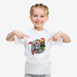 Personajes de comics de maravilla online-Precios ultra bajos 2019 superhéroes Marvel Comics personajes de la película Camiseta de manga corta de algodón con estampado blanco Verano suave para niños