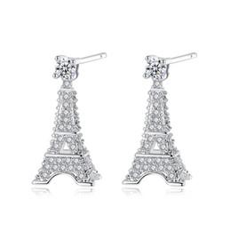 Мода Дизайн 3D Эйфелева Башня Форма Серьги Стержня для Женщин Сияющий CZ Кристалл Алмаза Посеребренная Стад Серьги Подарок Ювелирных Изделий от