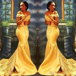 2019 gelbe nigerianische spitze Afrikanische nigerianische gelbe Meerjungfrau-Abschlussballkleider lang 2019 weg von den Schultern-Spitze Pailletten Satin Abendkleid günstig gelbe nigerianische spitze
