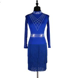 Vestidos de baile de salsa mujeres online-2019New Backless atractivo vestido de baile latino de las mujeres de la borla de salsa de rumba de la competencia vestidos de traje de lentejuelas vestido de baile latino dancewear